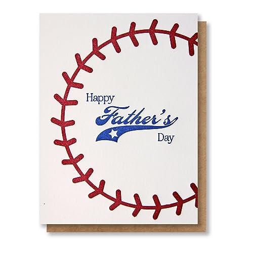 Amazoncom Happy Fathers Day Baseball Stitching Letterpress Card