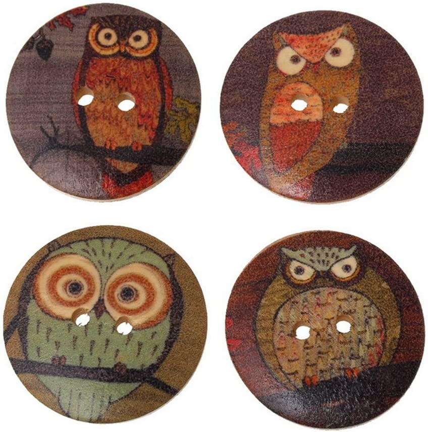 Fablcrew 50 pz Bottoni Legno per Decorazioni Cucito Fai da Te Scrapbooking Artigianato Modello di Gufo Size 30 mm