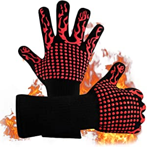 Naturesky BBQ Grill Gloves - Heat Resistant 1472? Food Grade Kitchen Oven Mitts, Silicone Non-Slip Cooking Gloves for Barbecue, Cooking, Baking, Welding, Cutting, 14 Inch Long
