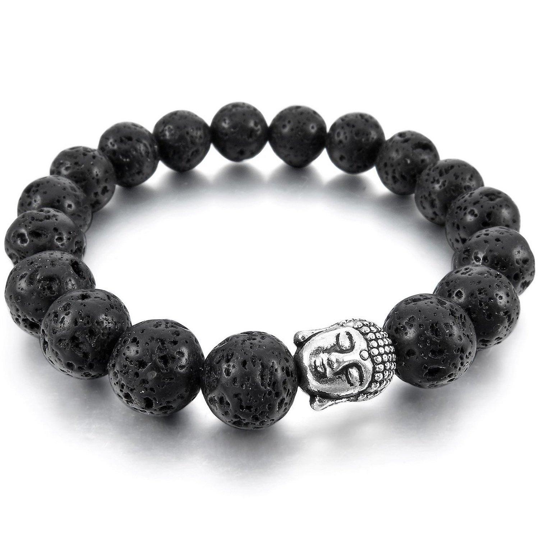 TEMEGO Jewelry Womens Mens Natural Energy Stone Lava Classic Beads Stretch Bracelet, Link Wrist Buddha Mala Bracelet, Black Silver,10mm