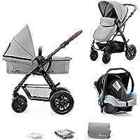 Kinderkraft Barnvagn 3-i-1 MOOV, Travel System, Barnvagnsset, Bilbarnstol, Sittvagn, Resevagn, Extra spädbarnsinlägg, 4…