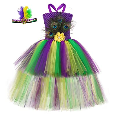Tutu Dreams Peacock Costume for Girls 1-12Y Carnival Jungle Party Dress Up with Headband: Clothing