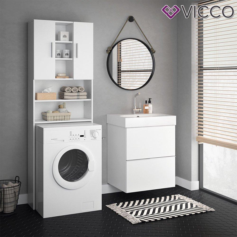 Vicco Waschmaschinenschrank Luis Weiß 190 X 64 Cm   Badregal Hochschrank  Waschmaschine Bad Schrank Badezimmerschrank Überbau Oskar