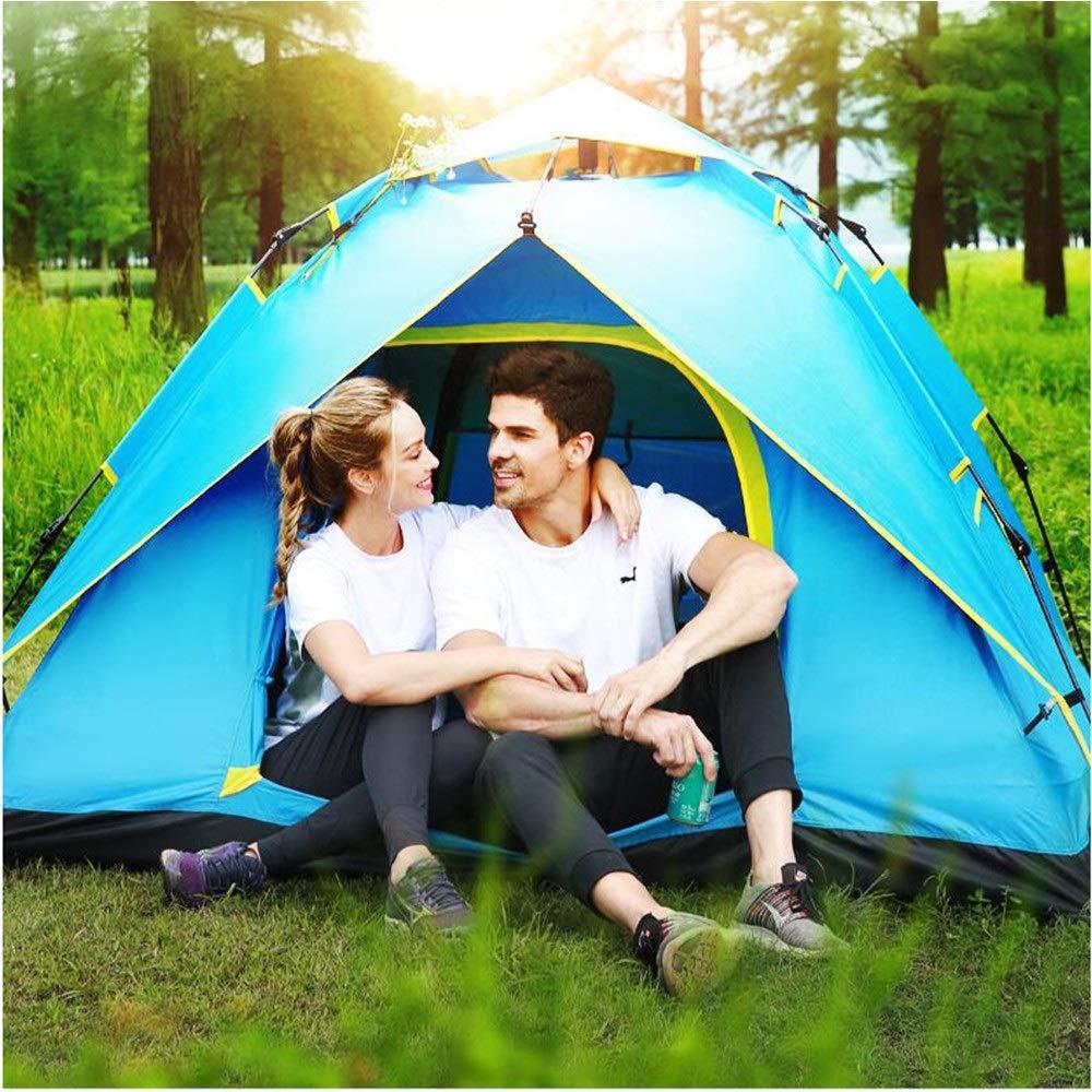 Leoconfiance Camping Zelt Bewegliches Zelt faltendes Wasserdichtes kampierendes Zelt Bewegliches im Freien, Das kletterndes Hauben-dauerhaftes Camping für 3-4 Person klettert Wasserdichtes Kuppelzelt (Farbe   Blau) fb2228