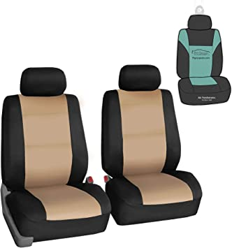Set of 2 Beige Premium Fabric with 3D Air Mesh Airbag Compatible FH Group FB062BEIGE102 Seat Cover