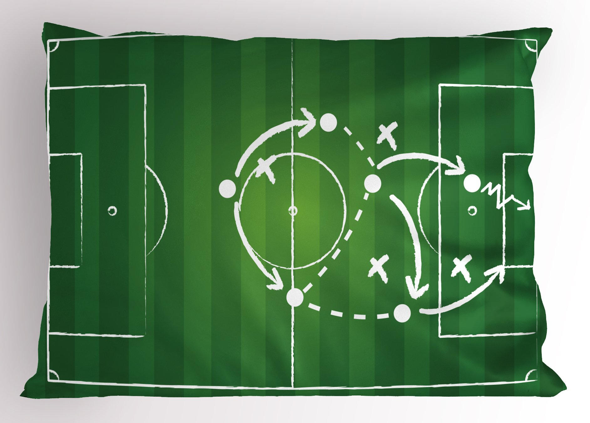 Ambesonne Soccer Pillow Sham, Game Strategy Passing Marking Dribbling Towards Goal Winning Tactics Total Football, Decorative Standard Size Printed Pillowcase, 26 X 20 inches, Green White