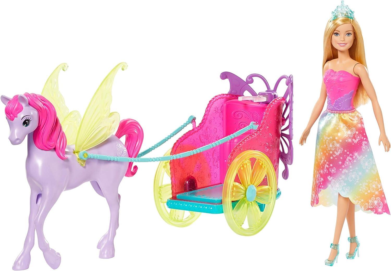 Barbie Dreamtopica muñeca de hada con carruaje con caballo de fantasia (Mattel GJK53)