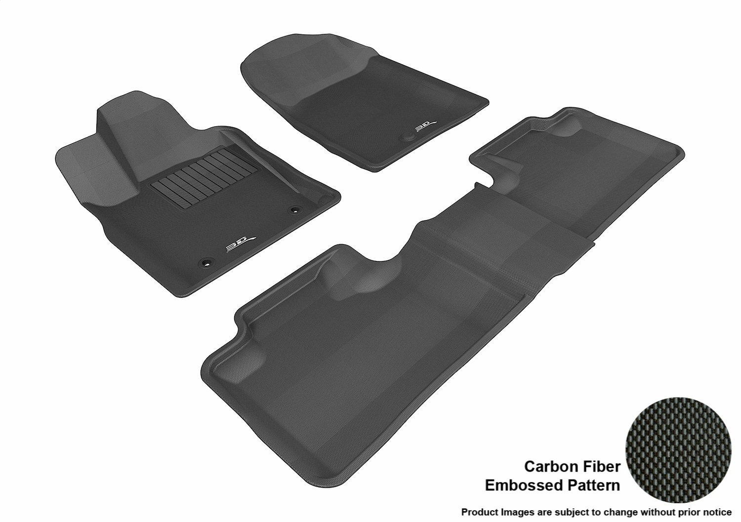 L1DG00601509 Kagu Rubber Black 3D MAXpider Complete Set Custom Fit All-Weather Floor Mat for Select Dodge Durango Models