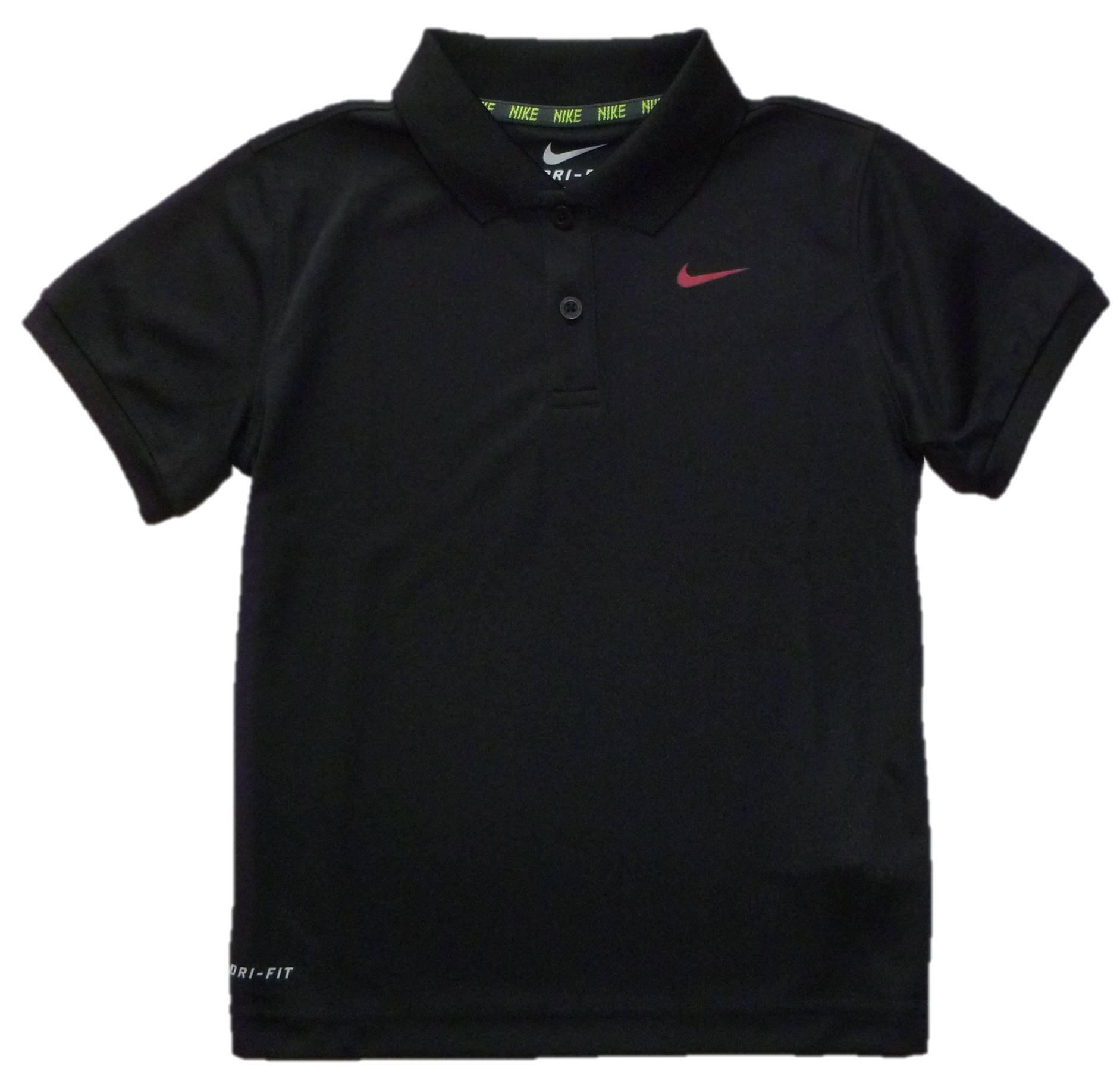 Nike Little Boys Dri-Fit Polo (7, Black)