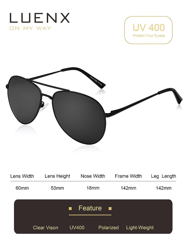 LUENX Herren Sonnenbrille Aviator Polarisiert mit Etui - UV 400 Schutz Silber Linse Silber Rahmen 60mm GVZhwe8s