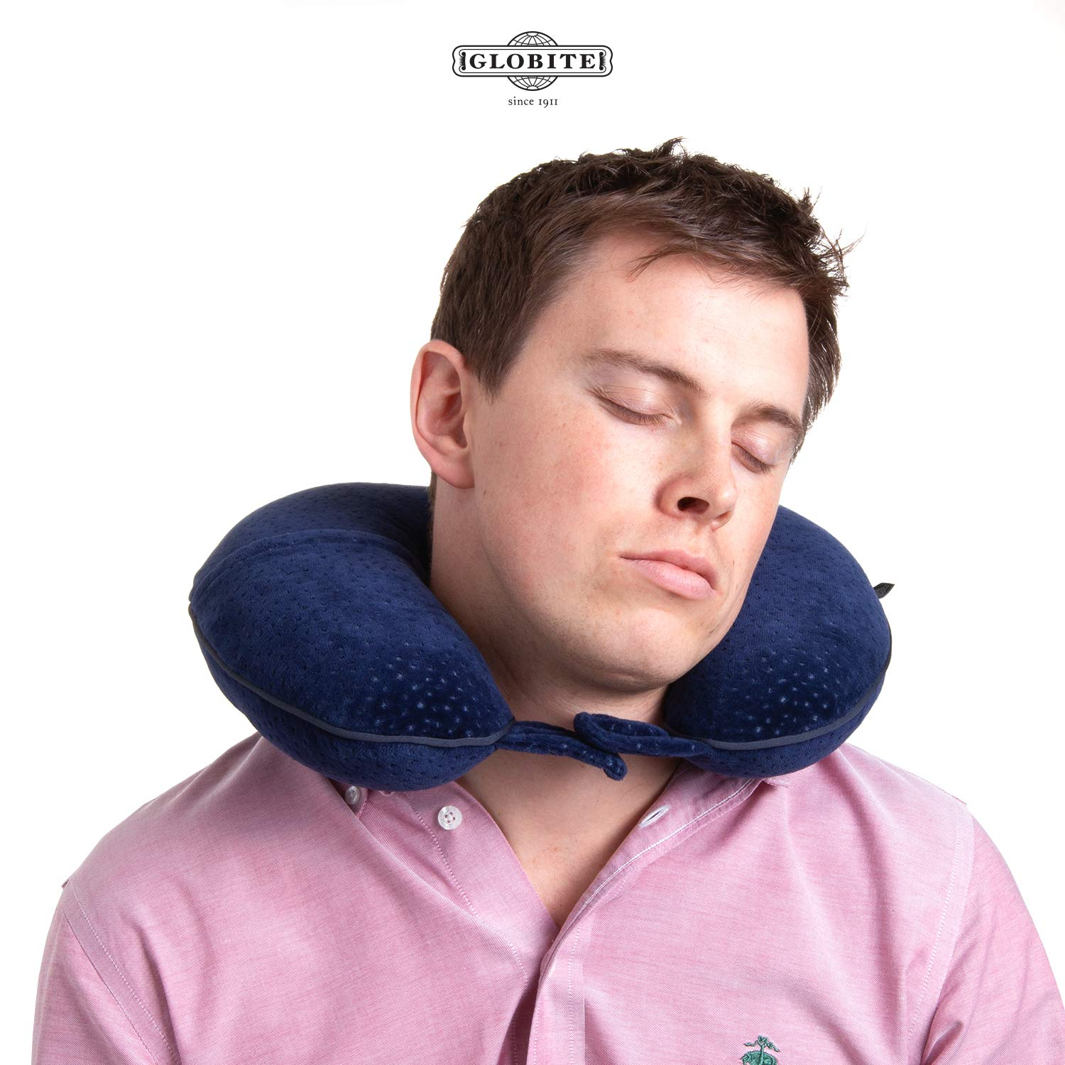 Globite Memory Foam Neck Pillow | Navy | Pillow for Travel | Pillow for Sleeping and Neck Support Globite Travel Goods