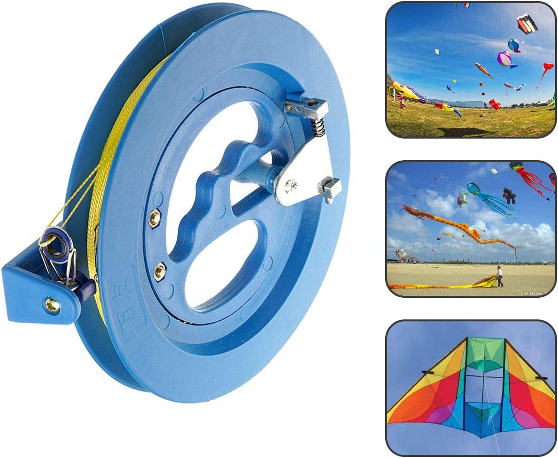 300m for 8 Inch Diameter Easy Hold and Control Blue Grip Wheel Flying Tools with Lock #NA 2PCS Professional Outdoor Kite Spools Kite String Reel Winder with 100m Line Length for 6 Inch Diameter