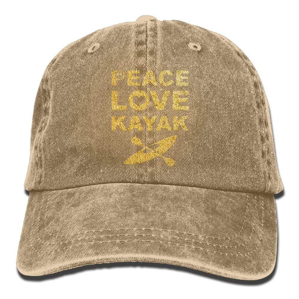 Peace Love Kayak Adult Sport Adjustable Baseball Cap Cowboy Hat JTRVW Cowboy Hats