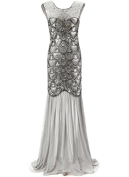 Bbonlinedress 1920s Vintage Vestido Largo Lentejuelas Gatsby Noche Fiesta Silver S