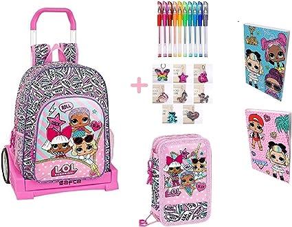 Trolley mochila escolar Lol Surprise Evolution + estuche 3 pisos cremallera completo + regalo + diario + 10 bolígrafos de colores + llavero brillante: Amazon.es: Oficina y papelería