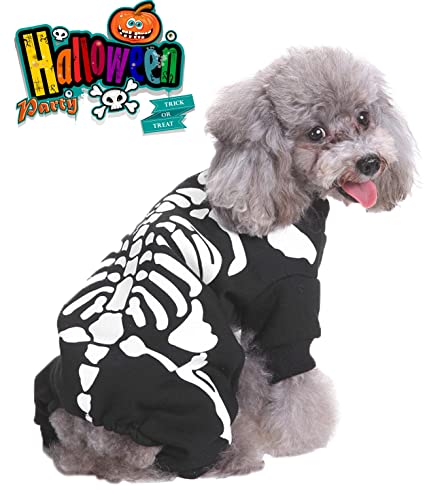 charmcz halloween pet dogs costume suit dressing up party clothing with hat for dogs hoodies fancy