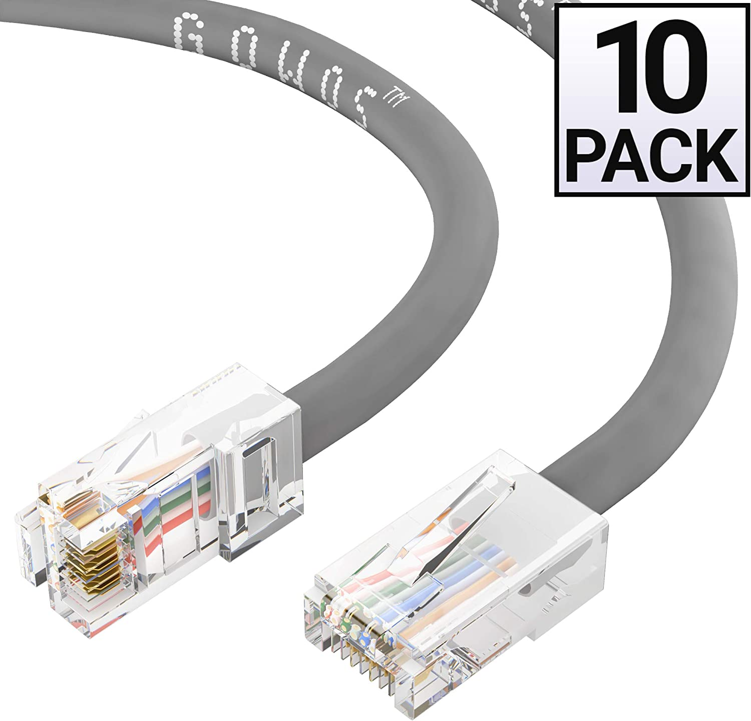 24AWG Network Cable with Gold Plated RJ45 Non-Booted Connector Gray 1Gigabit//Sec High Speed LAN Internet//Patch Cable 10-Pack - 3 Feet 350MHz GOWOS Cat5e Ethernet Cable