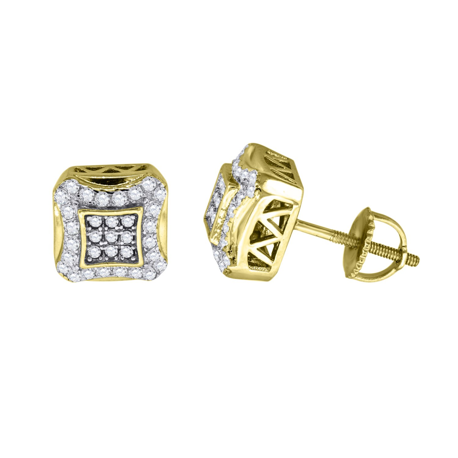 FB Jewels 925 Sterling Silver Mens Yellow-tone Cubic Zirconia CZ Round Stud Earrings