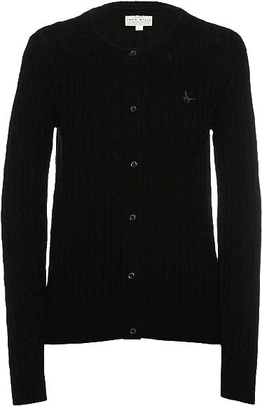 Jack Wills Womens Black Holywell Cable Cardigan UK 8 US 4