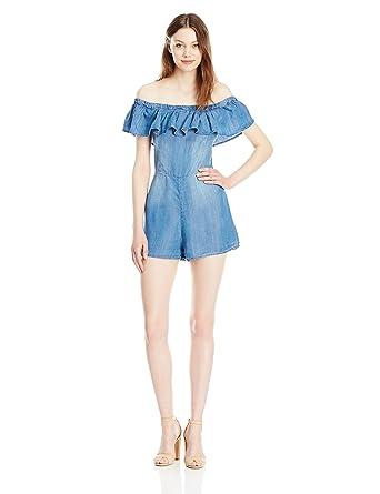9d19d601474b Amazon.com  Taylor and Sage Women s Denim Off The Shoulder Romper  Clothing