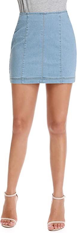 kefirlily Falda Vaquera de Mujer Slim Fit A-Line Mini Falda Jeans ...