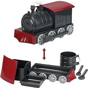 KidsFunwares Chew-Chew Train Kids Dinnerware Set with Utensils, Red