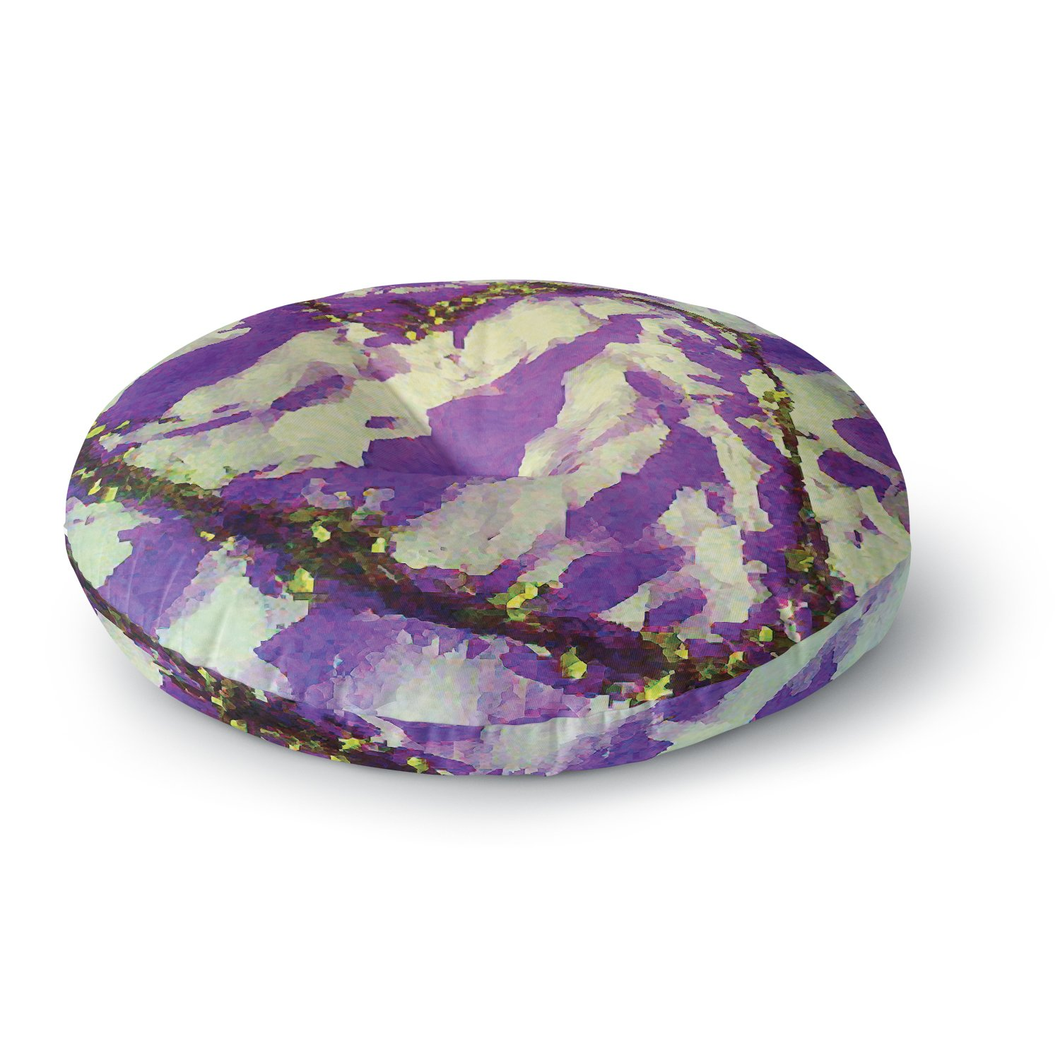 26 Round Floor Pillow Kess InHouse Anne Labrie Tiger Love Purple Yellow