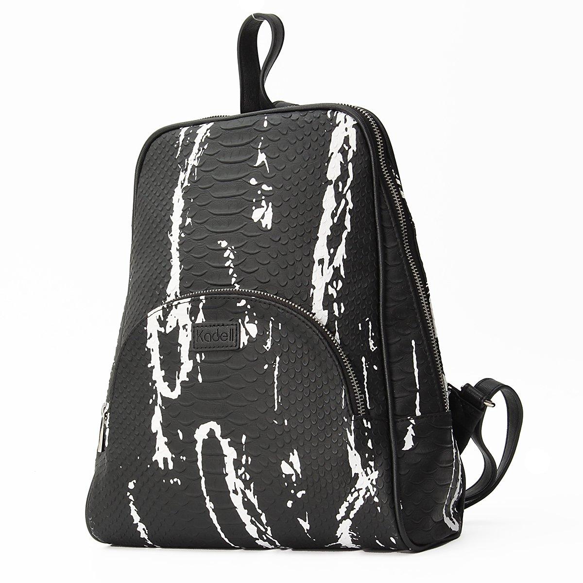 Kadell Women Leather Backpack Purse Shoulder Bags Knapsack Travel Bag Satchel Black and White