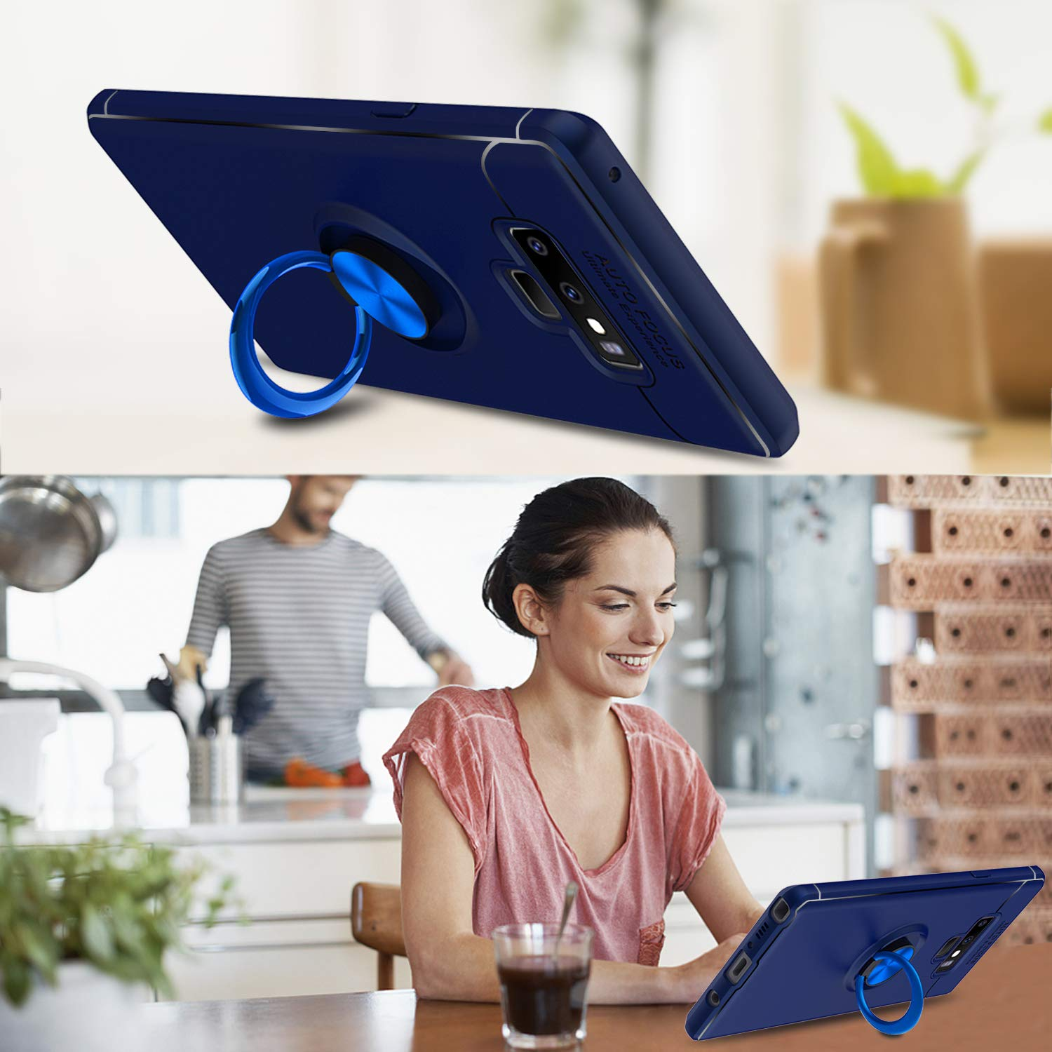 Amazon.com: Elegant Choise Compatible with Galaxy Note 9 Case, Hybrid Slim Durable Soft 360 Degree Rotating Ring Holder Kickstand Protective Case with ...