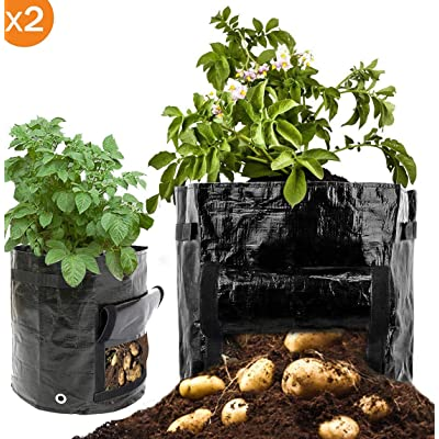 Cefrank Potato Grow Bags, 2-Pack Growing Bag with Flap & Handles - Planter Bags Planting Pouch for Carrot Onion Vegetables : Garden & Outdoor