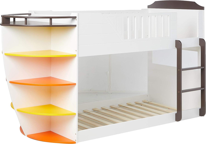 Acme Furniture Twin Bunk Bed W Storage Shelves Twin Over Twin White Chocolate Furniture Decor