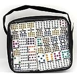 Weico 99058 - Gesellschaftsspiel, Domino Double Fifteen 136 Steine mit farbigen Punkten, Reißverschlusstasche, weiß