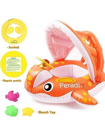 Peradix Flotador para bebé 1-3 Años Barco Inflable Flotador con Asiento Respaldo Techo Ajustable