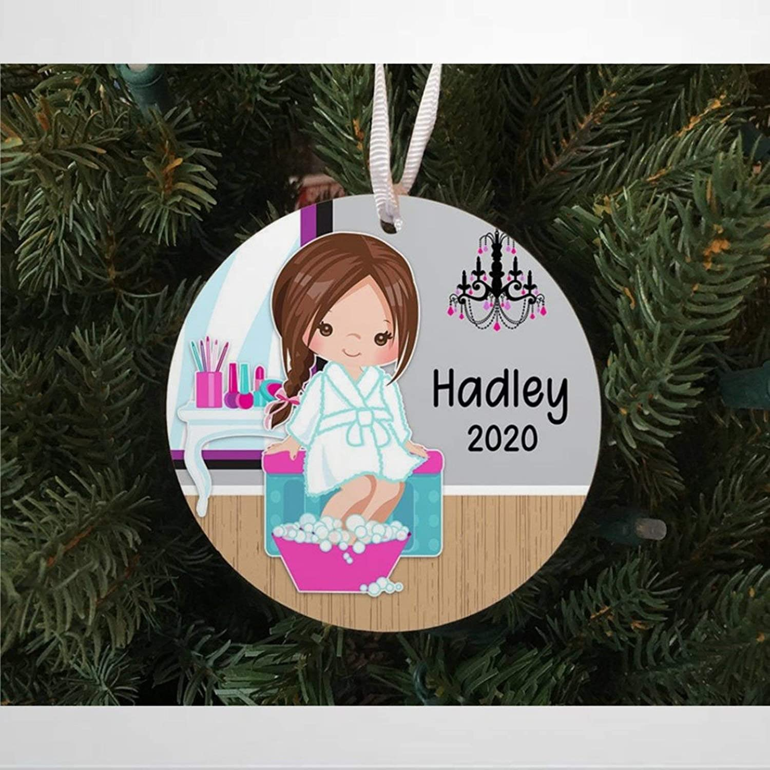 BYRON HOYLE Personalized Girls Relaxing Spa Day Christmas Ceramic Ornaments, Christmas Tree Ornament Decoration Hanging Glossy Ornaments Funny Xmas Presents Window Door Kitchen Dress up Bauble