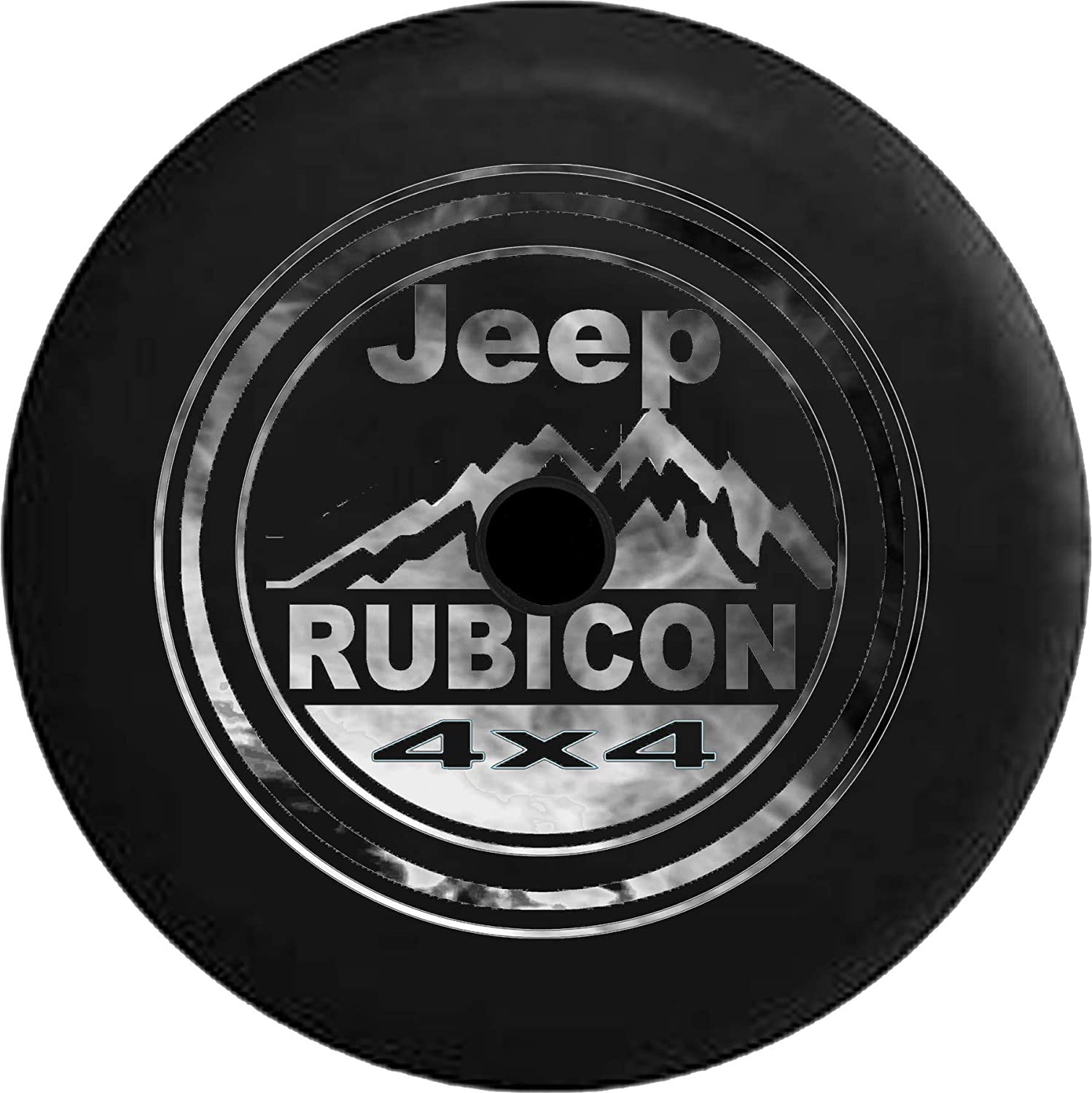 JL Series Jeep Spare Tire Cover with Backup Camera Hole Smoked Out Jeep Rubicon 4x4 Mountains Black 33 in