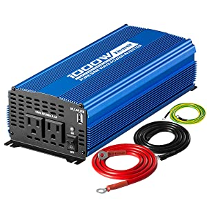 Kinverch 1000W Continuous/ 2000W Peak Pure Sine Wave Inverter DC 12V to AC 110V Car Power Inverter with Dual AC Outlets & 2A USB Output