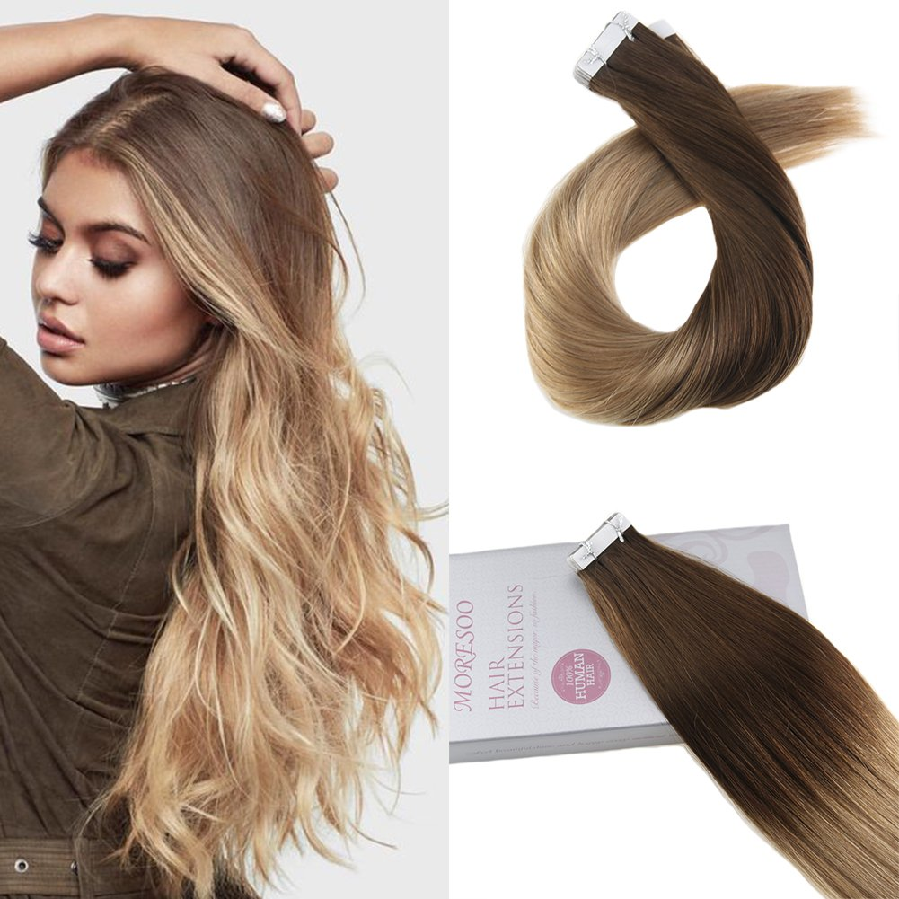 Moresoo 24 Inch Adhesive Tape in Hair Extensions Real Hair Skin Weft Extension Tape 50 Grams 20 Pieces Per Pack Light Brown #8 Ombre Platinum Blonde #60 Tape on Hair Seamless Tape in Hair Extensions Weihai Moresoo Hair Technology Co. Ltd