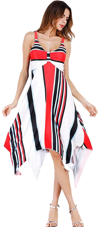 0b8ff26f86 Arctic Cubic Sleeveless Empire Waist Striped Stripe Colorblock High Low Hem  Irregular Hem Midi A-Line Swing Trapeze Dress at Amazon Women s Clothing  store