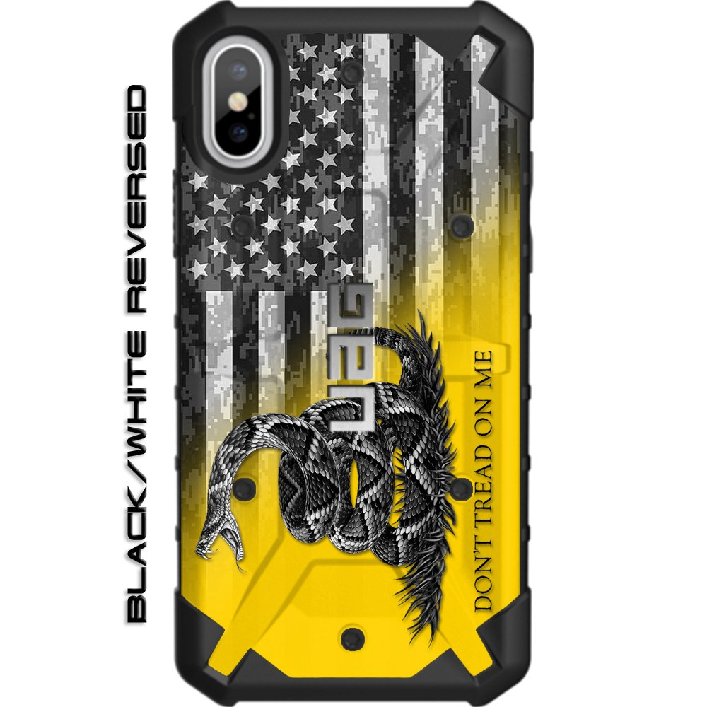 Limited Edition - Customized Designs by Ego Tactical Over a UAG- Urban Armor Gear Case for Apple iPhone X/Xs (5.8'')- Don't Tread on Me Flag on US Camo Flag Subdued Rev. by Ego Tactical
