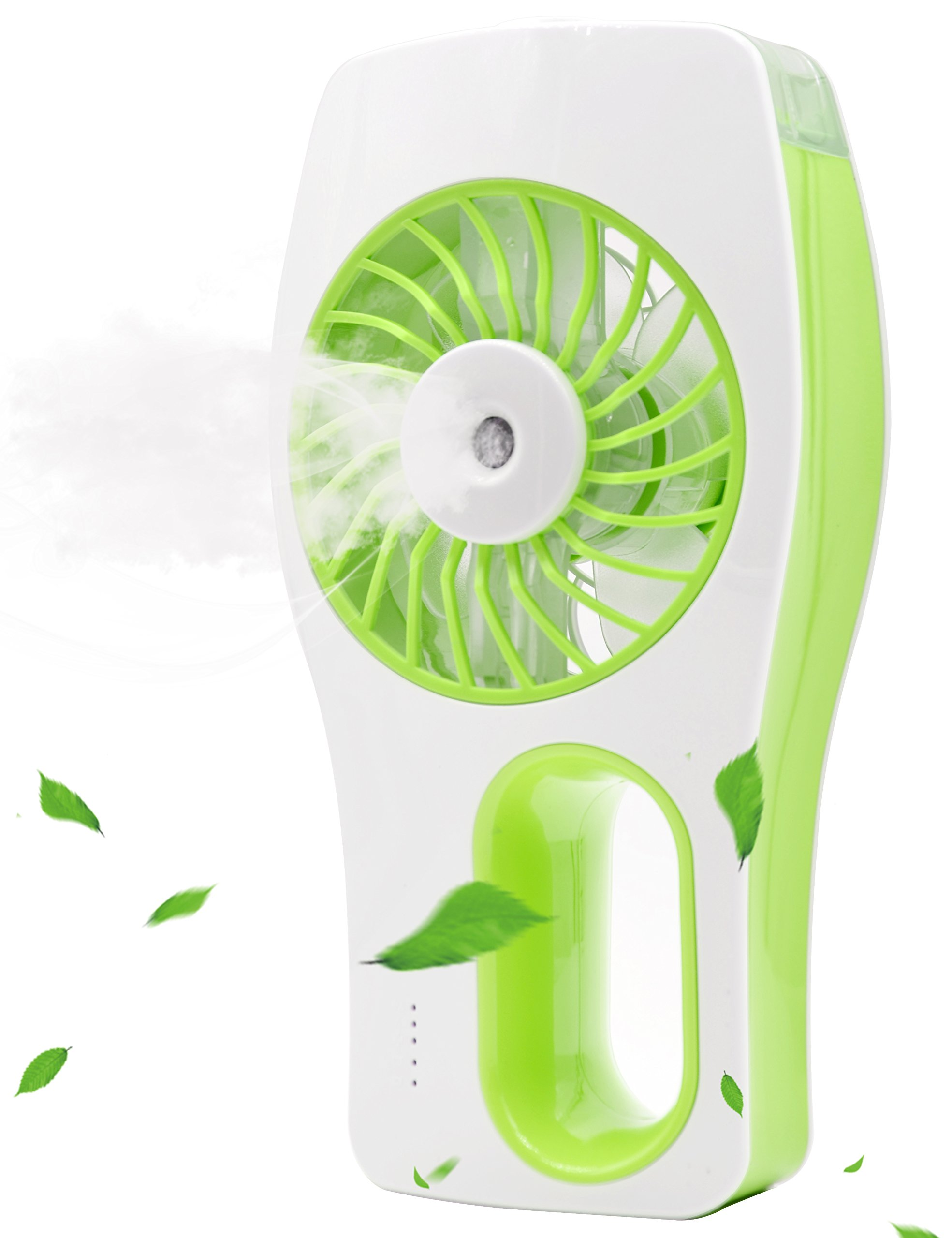 Minhe Handheld USB Misting Fan Humidifier,USB Rechargeable Portable Fan,Summer Spray Fan for Face Water Supply, Beauty. Use in Home, School, Office Room, Travelling, Car (Green)