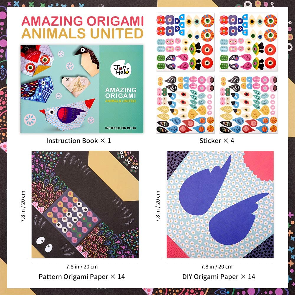 Instructional Origami Book Stickers Fridaysun Art and Craft Kit Origami with Origami Paper Best Arts and Crafts Gift for Kids Boys Girls Beginner School Project