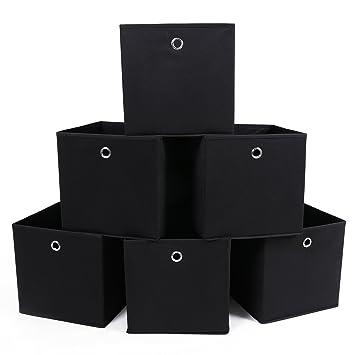 Songmics Juego de almacenaje Cubos de tela Plegable 30 x 30 x 30 cm Negro (