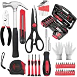 VIRENZZO 40 Pieces of Portable Repair Tool Set, Classic General Household Storage Case (Black red)