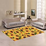 InterestPrint Home Decoration Nature Art Sunflowers Field Butterfly Art Area Rug Cover 7' x 5', Watercolor Floral Carpet Rugs Cover for Home Living Dining Room
