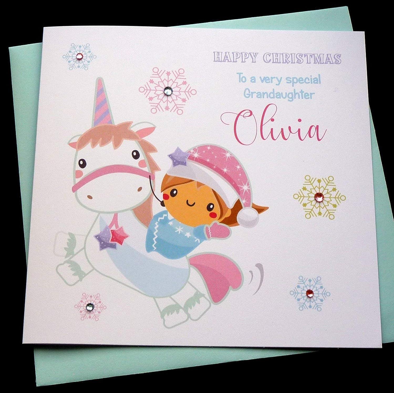 Christmas Card Wording.Handmade Personalised Unicorn Christmas Card Any Wording