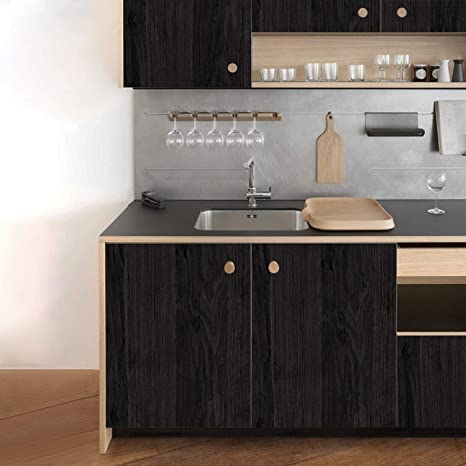 KINLO Pegatina de Mueble de Madera Ropa 0,61 * 5M Autoadhesivo Papel  Pintado Impermeable para Muebles/Cocina/Baño Color Negro(2 Rollos)