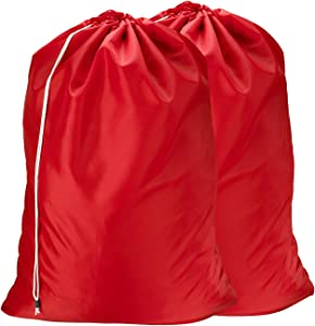 Nylon Laundry Bag - Locking Drawstring Closure and Machine Washable. These Large Bags Will Fit a Laundry Basket or Hamper and Strong Enough to Carry up to Three Loads of Clothes. (Red | 2-Pack)