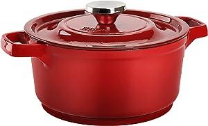 COOKER KING Enameled Cast Iron Dutch Oven Stovetop Casserole Cookware Braising Pot, Porcelain Enamel Coated Cast-Iron Baking Pots with Lid Classic Enamel Casserole Pot & Handles,Red, 5 Quart