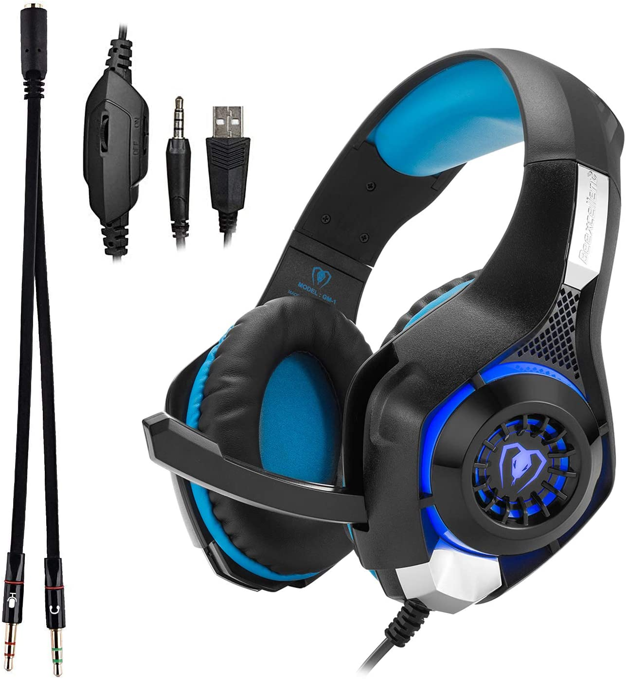 Beexcellent GM-1 Over-Ear Wired 3.5mm Pro Gaming Headset Surround Sound Gaming Headphone with LED Effect and Microphone for PC, Laptop, Tablet, PS4, Xbox, Cell Phone (Blue)