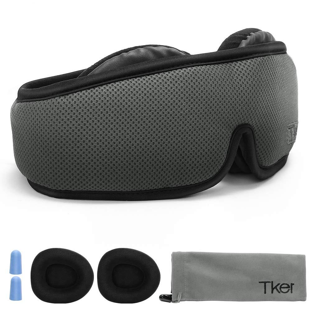 Tker 3D Sleep Mask, Silk Eye Mask Cover with Breathable Memory Foam, Anti-slip Back Gel Adjustable Strap for Men, Women, Kids